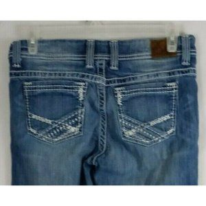 """BKE Payton Distressed Whiskered Thick Stitched Bootcut Jeans Size 31L  33.5""""x31"""""""